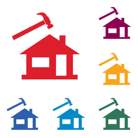 Roofer repair icon.