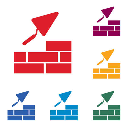 Brick with trowel icon. Illustration