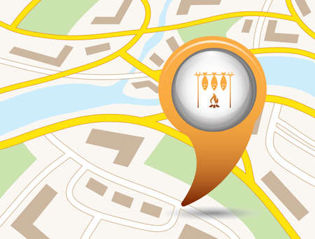 Grilled fish icon design on map locator in colored illustration.