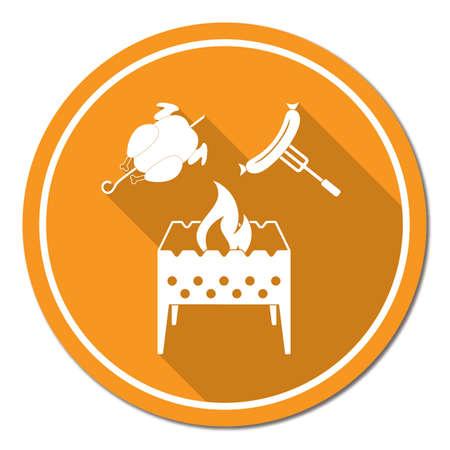Icône de brasero, poulet et saucisse. Illustration vectorielle