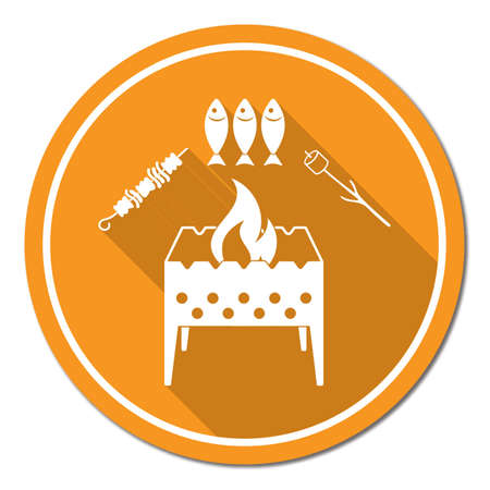 Brazier zephyr, kebab and fish icon. Vector illustration Stock Vector - 88541916