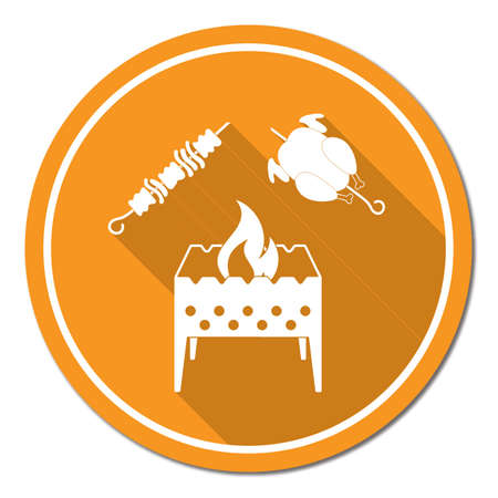 Brazier, kebab and chicken . Vector illustration Stock Vector - 88541921