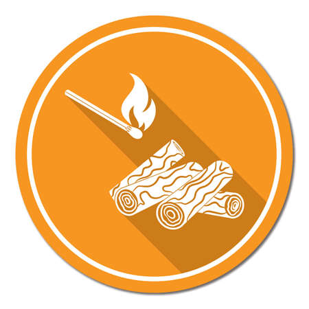 Firewood and matches icon vector illustration.