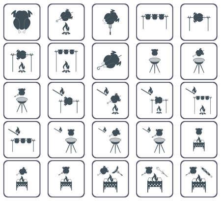 Conjunto de ícone de frango grelhado. Ilustração vetorial Foto de archivo - 88992637