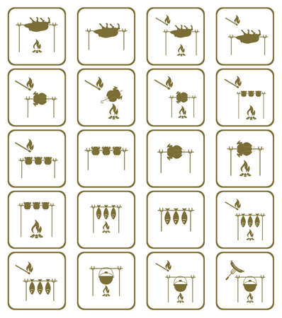 Set of a barbecue grill with boar and chicken icons.