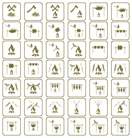 Set of coocing on campfire icons. Vector illustration