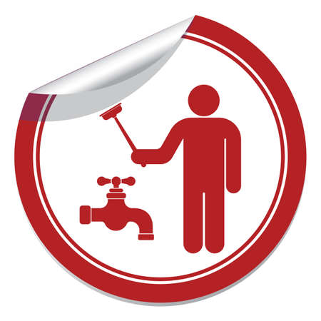gripping: Plumbing work symbol icon. Vector illustration