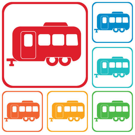 Camping trailer icon. Vector illustration  Illustration