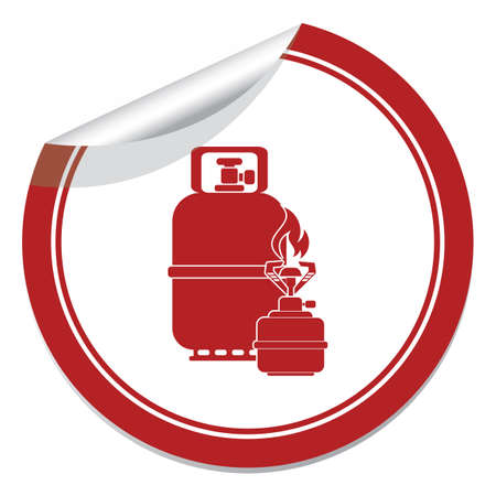 Camping stove with gas bottle icon vector. Vector illustration.