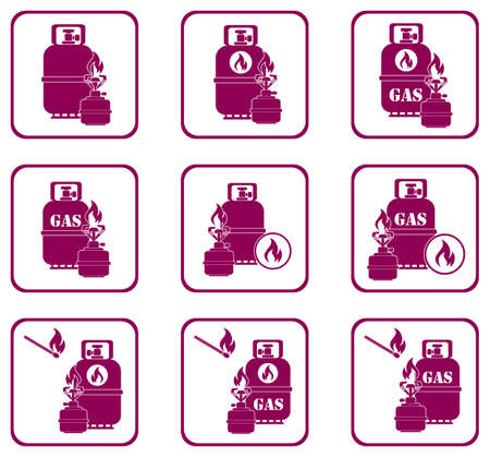 Camping stove with gas bottle icons set. Vector illustration.
