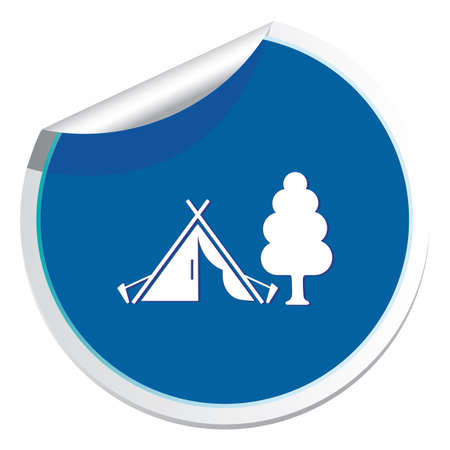 Stylized icon of tourist tent. Vector illustration. Ilustração