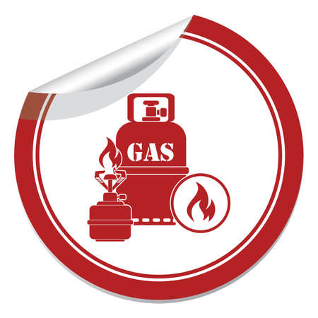 Camping stove with gas bottle icon. Vector illustration.   Illustration