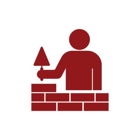 Brick layer tiler mason worker with trowel. Vector illustration Vettoriali