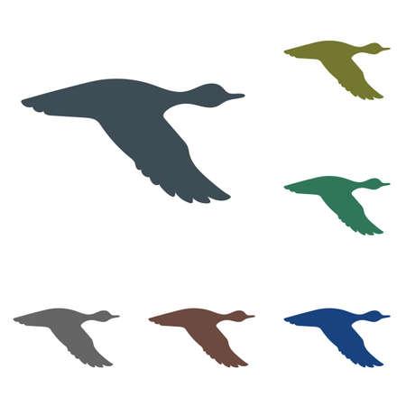Vector silhouette flying duck. Vector illustration
