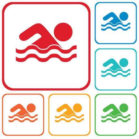 Swimming water sport icon. Vector illustration