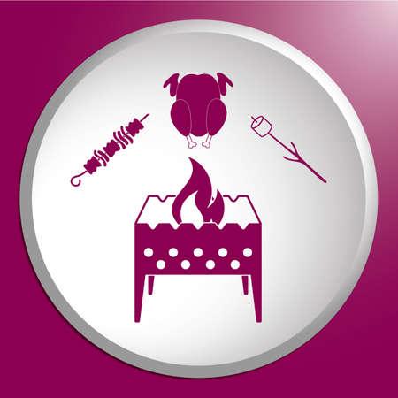 Brazier zephyr, kebab and chicken icon. Vector illustration