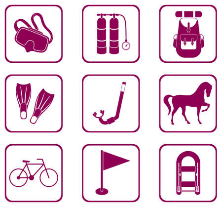 Set of camping equipment icons. Vector illustration.