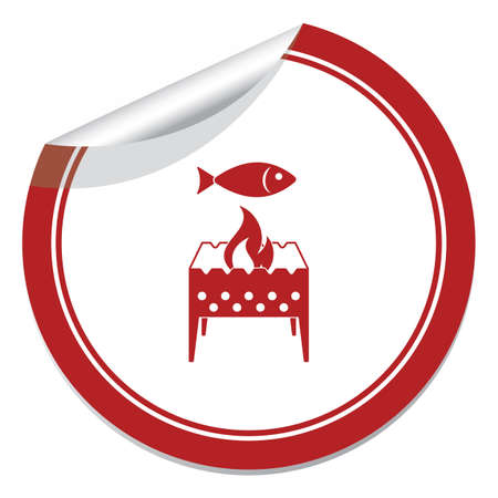 Brazier grill with fish icon. Vector illustration   Illustration