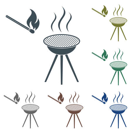 The barbecue icon, Flat style in various color illustration. Ilustrace