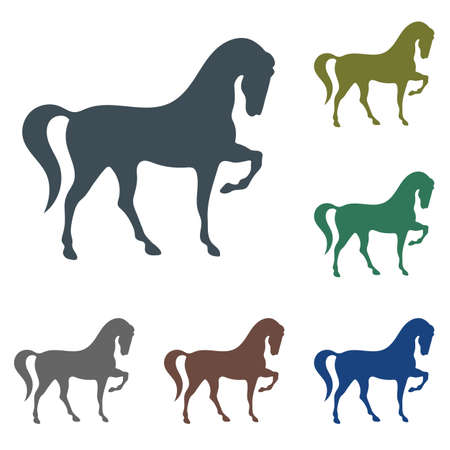 Horse silhouette icon in various color illustration.