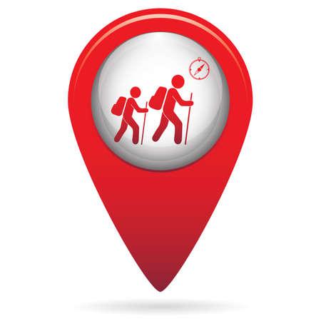 Hiking tourists with compass icon. Vector illustration Ilustração