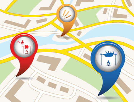 Map with map pointer icon. Illustration