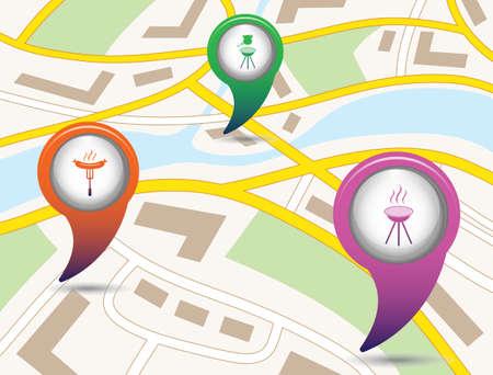 ensemble de cartes de planification de tourisme pointeurs sur la carte. illustration vectorielle