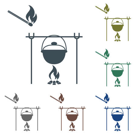 Fire and pot icon illustration on white background.