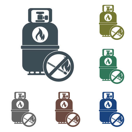 Camping gas container with prohibition sign icon on white background . Vector illustration Illustration