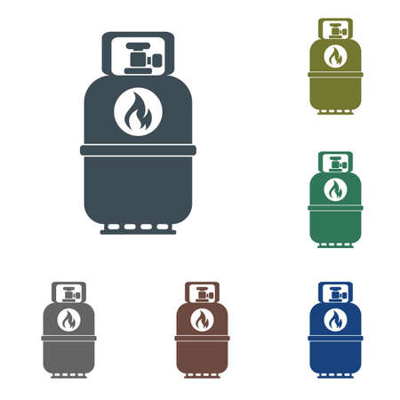 Set of camping gas bottle icon in flat design.