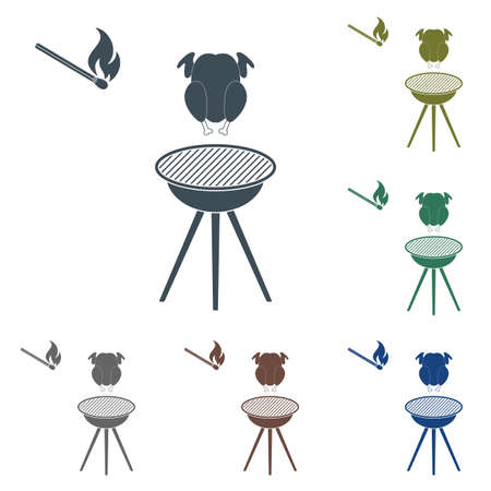 Set of barbecue grill with chicken icon in different colors. Illustration