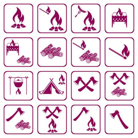 Set of campfire icons.  イラスト・ベクター素材