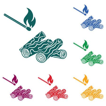 Bois de chauffage et allumettes icône Illustration vectorielle.