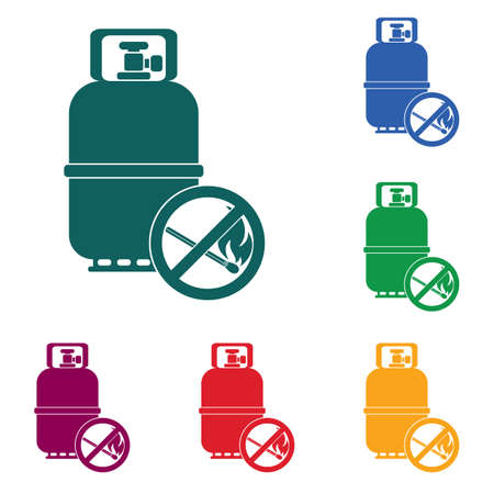 Camping gas bottle icon. Flat icon isolated vector illustration.