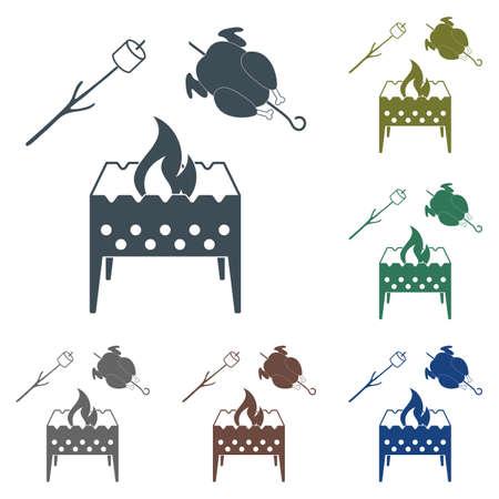 Brazier, zephyr and chicken icon. Vector illustration.