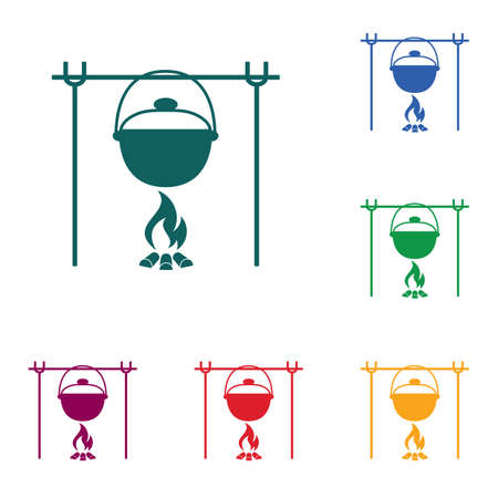 Fire and pot icon. Vector illustration. Stock Vector - 93150127