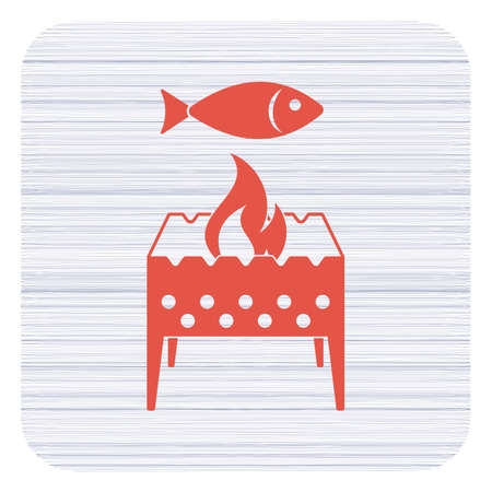 Brazier grill with fish icon Stock Vector - 93466210