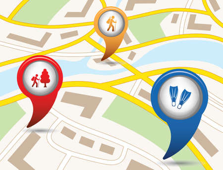 Set of tourism services map pointers on map vector illustration. Illustration