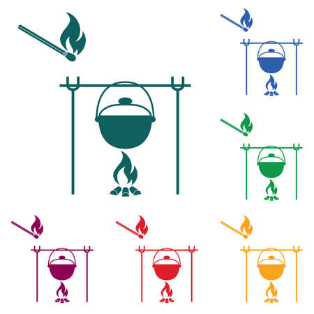 Fire and pot icon. Vector illustration. Stock Vector - 93801813