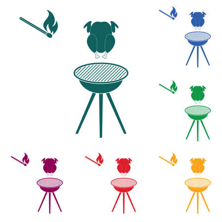 barbecue grill with chicken icon. Vector illustration Stock Vector - 93801828