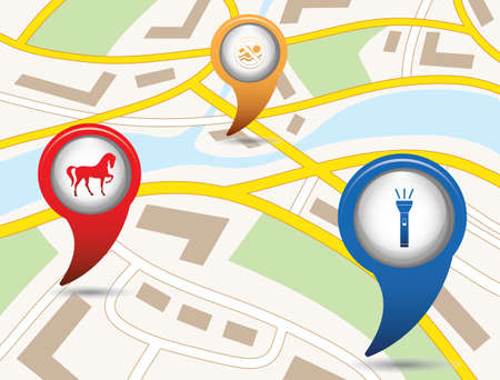 Set of tourism services map pointers on map. Vector illustration.   Illustration