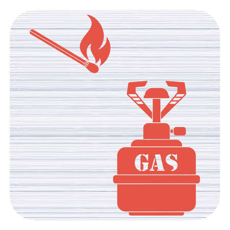 Camping stove icon with match. Vector illustration.