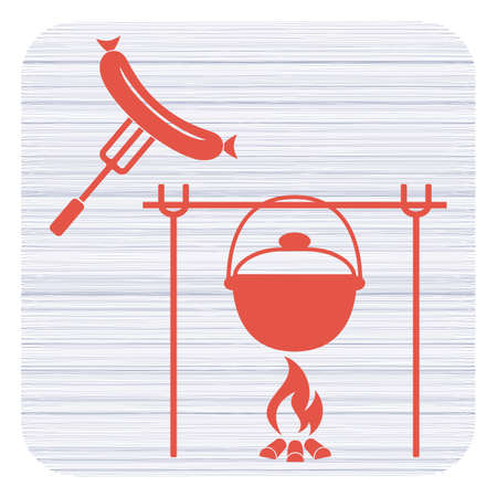 Fire, pot and sausage icon. Vector illustration. Stock Vector - 94209967