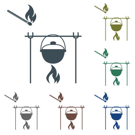 Fire and pot icon. Vector illustration on white background. Illustration