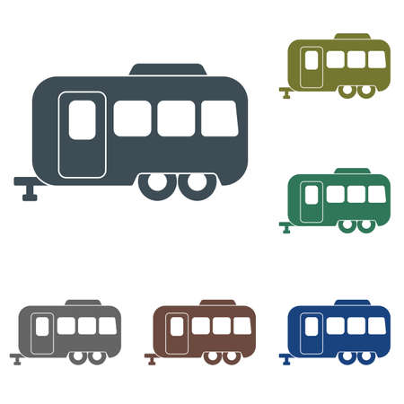 Camping trailer icon. Vector illustration on white background.