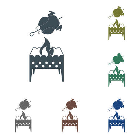 Brazier and chicken icon. Vector illustration on white background. Illustration