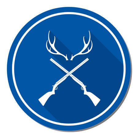 Hunting club icon in blue circle with white border om white background. Vector illustration.
