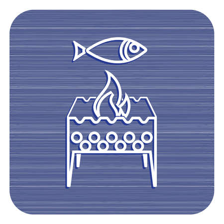 Brazier grill with fish icon. Vector illustration Vectores