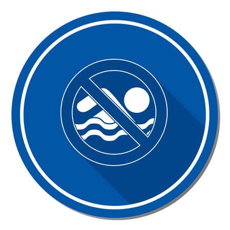No swimming prohibition sign icon. Vector illustration