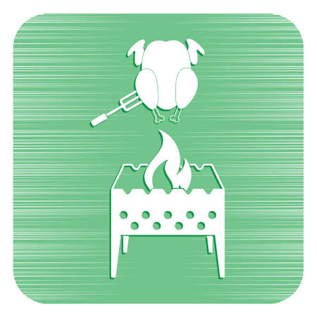 Brazier and chicken icon. Vector illustration Stock Vector - 94940574